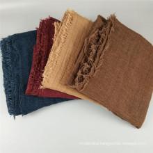 Top selling muslim fashion womens cotton linen scarves shawls short tassel crinkle scarf women hijab