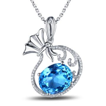 Blue Topaz Money Bag Silver Pendants in 925 Sterling Silver Jewelry