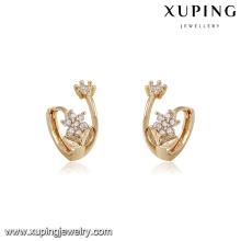94213 xuping new designs with flower shape imitation diamond hoop earring