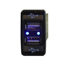 Car Dual USB Charger Audio Port Interface LED Light for Toyota Prado 120 Series