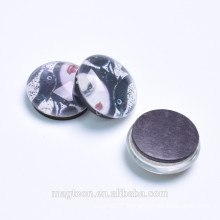 custom popular sexy girl portrait printed crystal glass fridge magnets for promotional gift