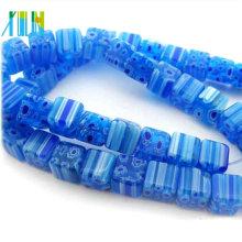 charm wholesale square glass crystal sapphire millefiori beads