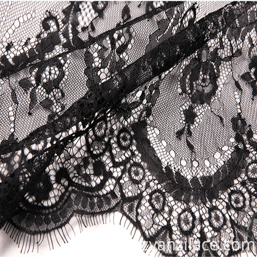 Black Eyelash Chantilly Lace Floral French Lace