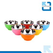 Padrão Coração Crianças coloridas Bowls de aço inoxidável e tigelas de plástico Atacado