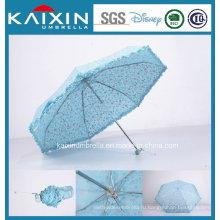 Складной зонтик с голубым цветом
