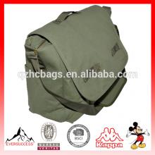 Saco de mensageiro de bolsa de ombro de lona verde militar para homens