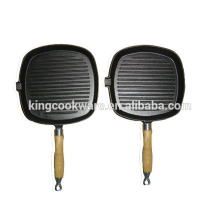 cast iron grill cooking pans grill paN with single wooden HANDLE