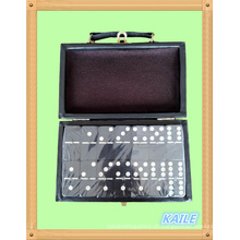 Duplo seis pinta branca preta dominó com caixa de couro