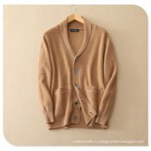 Мужская чистый кашемир Вязание кардиган для зима толстый свитер пальто с вставкой карман V шеи Однобортный