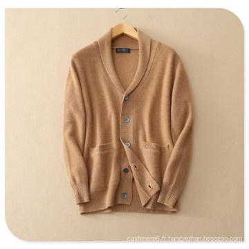 Men 's Pure Cashmere Cardigan à tricoter pour l'hiver épais manteau pull avec insert poche col V simple boutonnage