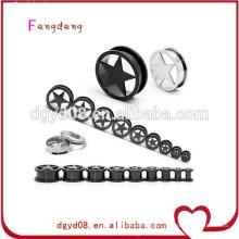 Aço inoxidável vibrando brinco túnel corpo piercing jóias