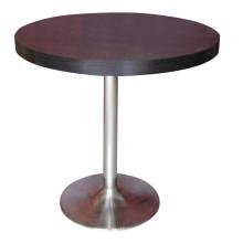 Mesa de comedor redonda Muebles de hotel de madera con pierna de acero inoxidable