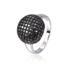 Classic unique 925 sterling silver black stone ring for women