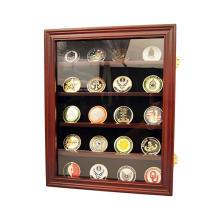 Custom 14x17 inch Walnut Custom Lockable 30 Military Challenge Coin Poker Chip Sports Coin Display Case Cabinet Glass Door