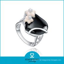 Anéis de casamento de ágata banhado a ródio