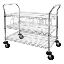 Mobile Chrome Wire Panel Storage Shelving Trolley