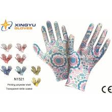 Защитные перчатки из полиэфирной оболочки с покрытием из нитрила (N1521)