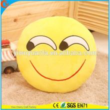 Hot Selling High Quality Novedad Diseño Funny Emoji Emoticon Amarillo Almohada Redonda