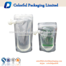 China quente venda saco de plástico bolsa de bebidas fabricantes de energia bebida bica bolsa