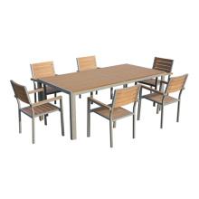 Outdoor/Garten Möbel 7pc imitiert Holz-ESS-set