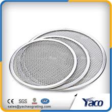 China fornecedor de alumínio sem costura redonda tela de pizza de malha 7 '' - 22 ''