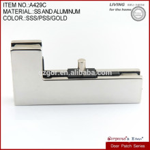 L shape curved clamp for glass door above patch fitting