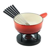 Color Enameled Cheese Fondue Pot