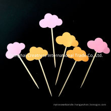 Small and Chic Gold Pink Cloud Cupcake Toppers
