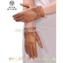 Hersteller heiße Verkauf bowknot Dame Leder Handschuhe