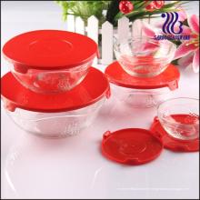5PCS Ensemble de bol en verre en relief gravé au raisin, ensemble de bol de salade en verre 5PCS (GB1403TZ)