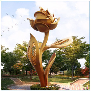 Garden Large Size Golden Painting Stainless Steel Rose Sculpture