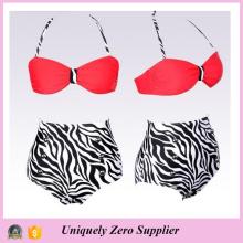 2016 Chaussures Sexy Femme Zebra Prints Tankini Bikini avec pantalons taille haute