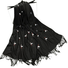Cheap prices printed ladies swan embroidery tassels fake cashmere pasmina scarf