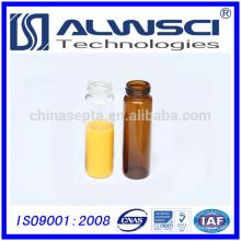 20ML Bernsteinglas-Durchstechflasche mit geschlossener schwarzer PP-Kappe HPLC / GC-Autosampler-Durchstechflasche 27.5x57mm