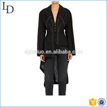 Blusa de lino de algodón con cordones 2017 irregularidad largo estilo de espalda para las mujeres