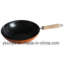 Kitchenware Orange Carbon Steel Non-Stick Cookware Wok