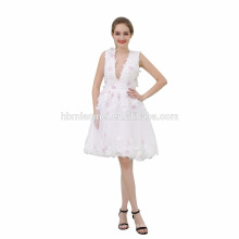 Damen-reines weißes kurzes moslemisches Abend-Kleid für Hochzeitsfest