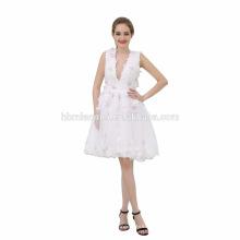 Vestido de noite muçulmano curto branco puro das senhoras para o banquete de casamento