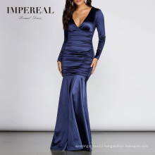 Satin Ruched Formal Women Long Dinner Gown Evening Dresses Long Sleeved