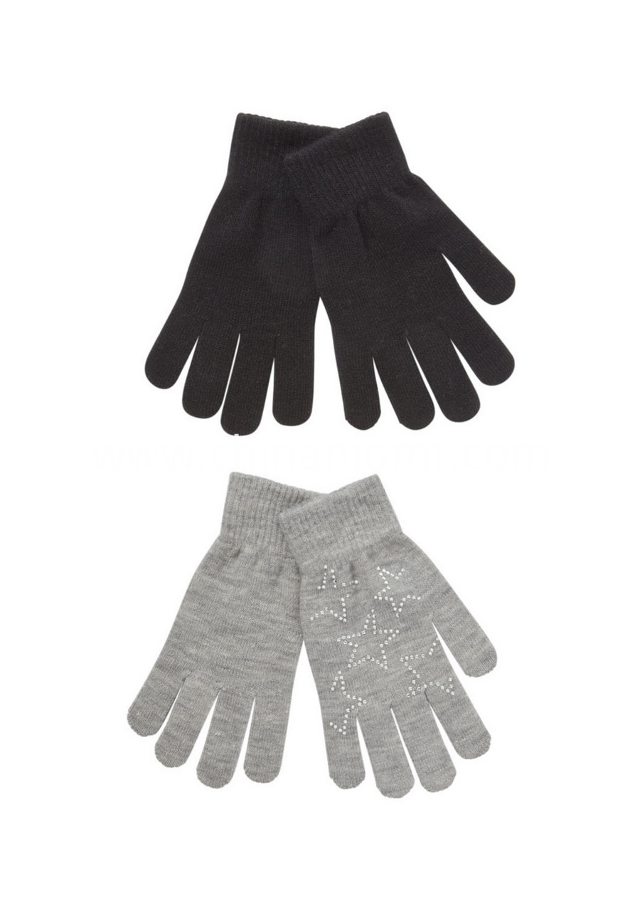 2 Pack Of Embellished And Plain Gloves