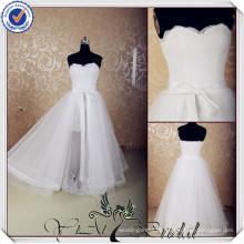 JJ3620 Real Sample Lace removable tulle overskirt wedding dress short