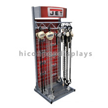 Heavy Duty Stand Alone Fixture Custom Design Industrial Hook With Chain Headup Jet Display Racks