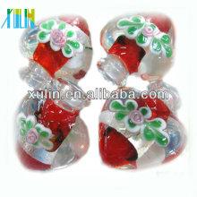 малое moq красное сердце формы флакон муранского подвески