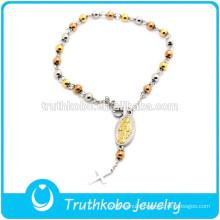 TKB-B0064 Three Colors Link Chain Miraculous Medal Pendant Rosary Bracelets