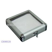 Caja de aluminio DVD CD 20 discos con una tapa de acrílico transparente por mayor de China fabricante