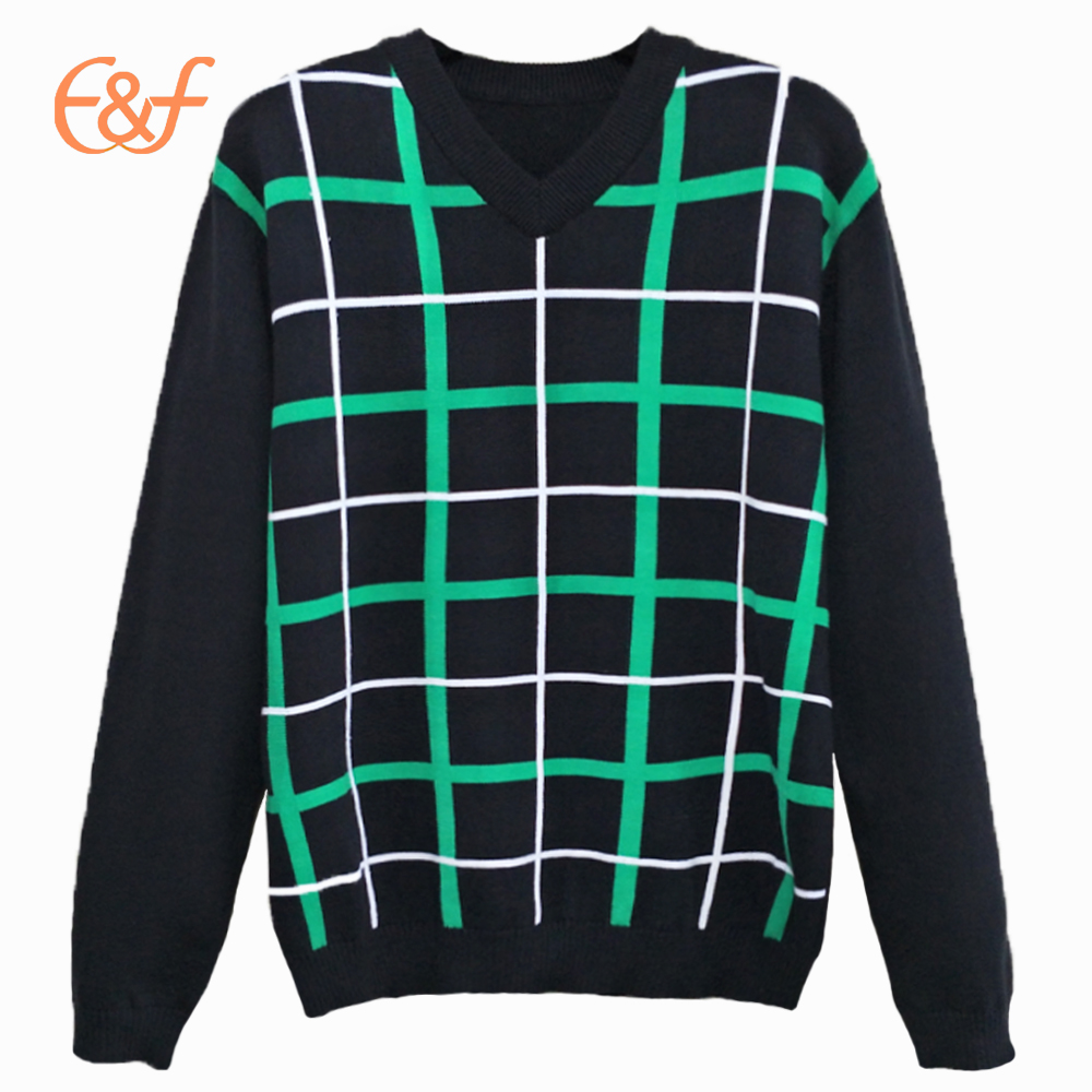 Fashion Green Checked Pattern Plaid Sweater
