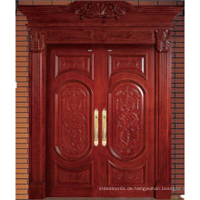 Rotbraun hohe Qualität Double Solid Wood Door mit Carving