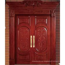 Puerta de madera sólida doble de alta calidad rojo marrón con talla