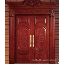 Red Brown High Quality Double Solid Wood Door with Carving