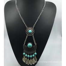 Long Chain Nature Stone Beads Alloy Necklace (XJW13774)